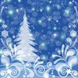 De achtergrond van Kerstmis, de winterbos vector illustratie