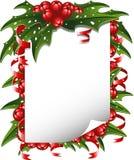 De achtergrond van Kerstmis: document dat met hulst wordt verfraaid Stock Foto