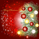 De achtergrond van Kerstmis en de takken van de Kerstmisboom Stock Afbeelding