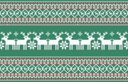 De achtergrond van Kerstmis Gebreid Nieuwjaarpatroon stock illustratie