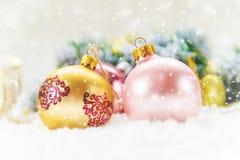 De achtergrond van Kerstmis Gelukkig Nieuwjaar Selectieve nadruk royalty-vrije stock foto