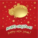 De achtergrond van Kerstmis - gouden Kerstmisvarken Royalty-vrije Stock Foto