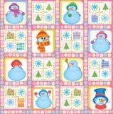 De achtergrond van Kerstmis, grappige sneeuwmannen, vector Stock Afbeeldingen