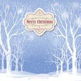 De achtergrond van Kerstmis Het landschap van de sneeuwwinter Retro Vrolijke Christus Stock Foto