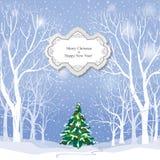 De achtergrond van Kerstmis Het landschap van de sneeuwwinter Retro Vrolijke Christus Stock Fotografie