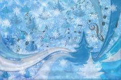 De achtergrond van Kerstmis Kerstboom, sneeuwvlok, g-sleutel en Stock Foto's