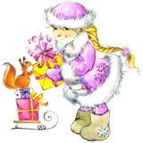De achtergrond van Kerstmis Kerstmis leuk meisje het meisje van de waterverfillustratie stock illustratie