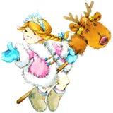 De achtergrond van Kerstmis Kerstmis leuk meisje het meisje van de waterverfillustratie royalty-vrije illustratie