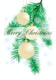 De achtergrond van Kerstmis met avondballen stock fotografie