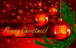 De achtergrond van Kerstmis met ballen en spartak Stock Fotografie