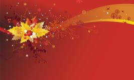 De Achtergrond van Kerstmis met de Bladeren en Branche van de Hulst Stock Foto's