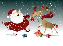 De achtergrond van Kerstmis met de Kerstman Stock Afbeeldingen