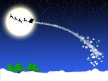 De Achtergrond van Kerstmis met de Kerstman op Slee Royalty-vrije Stock Foto's