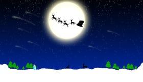De Achtergrond van Kerstmis met de Kerstman op Slee Royalty-vrije Stock Foto