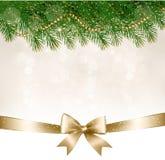 De achtergrond van Kerstmis met de takken van de Kerstboom Royalty-vrije Stock Afbeelding