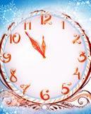De achtergrond van Kerstmis met een klok Stock Fotografie