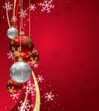 De Achtergrond van Kerstmis met fonkelingswerveling en Rood Ba Royalty-vrije Stock Afbeeldingen