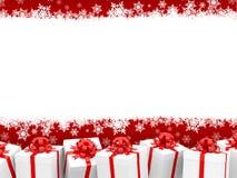 De achtergrond van Kerstmis met giftboxes Stock Afbeeldingen