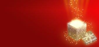 De achtergrond van Kerstmis met giftdoos Royalty-vrije Stock Foto's