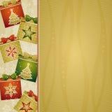 De achtergrond van Kerstmis met giften,   Stock Afbeelding
