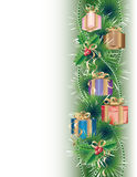 De achtergrond van Kerstmis met giften Stock Afbeelding