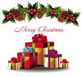 De achtergrond van Kerstmis met giften Royalty-vrije Stock Foto's