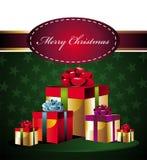 De achtergrond van Kerstmis met giften Royalty-vrije Stock Foto