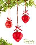 De achtergrond van Kerstmis met hart-vormig rood Royalty-vrije Stock Afbeelding