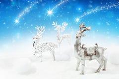 De achtergrond van Kerstmis met herten Royalty-vrije Stock Foto's