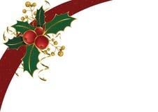 De achtergrond van Kerstmis met hulst Stock Afbeelding
