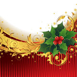 De Achtergrond van Kerstmis met Hulst Royalty-vrije Stock Afbeelding