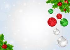 De achtergrond van Kerstmis met hulstbes Stock Fotografie