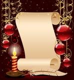 De achtergrond van Kerstmis met kaars, document en feathe stock illustratie