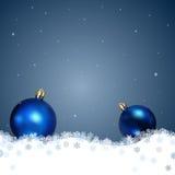 De achtergrond van Kerstmis met Kerstmisballen Stock Foto