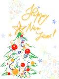 De achtergrond van Kerstmis met Kerstmisboom Stock Foto