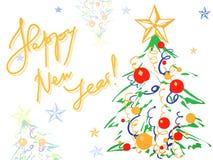 De achtergrond van Kerstmis met Kerstmisboom Stock Afbeelding