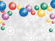 De achtergrond van Kerstmis met kleurrijke ballen Stock Foto