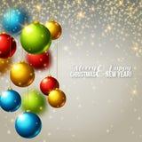 De achtergrond van Kerstmis met kleurrijke ballen Stock Fotografie