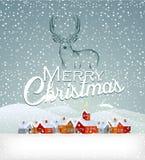 De achtergrond van Kerstmis met rendier Stock Foto's