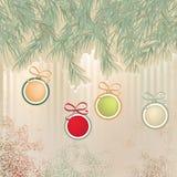 De achtergrond van Kerstmis met retro ballen. + EPS8 Royalty-vrije Stock Afbeelding