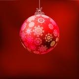 De achtergrond van Kerstmis met rode bal. EPS 8 Stock Foto's