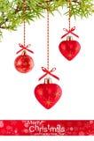 De achtergrond van Kerstmis met rode ballons Royalty-vrije Stock Afbeelding