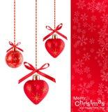 De achtergrond van Kerstmis met rode ballons Stock Afbeelding