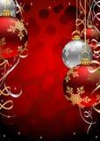 De Achtergrond van Kerstmis met Rode Snuisterijen en wimpel Royalty-vrije Stock Afbeelding