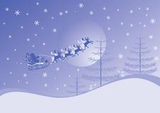 De achtergrond van Kerstmis met santa en deers, vector Royalty-vrije Stock Foto's