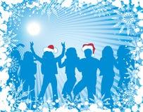 De achtergrond van Kerstmis met silhouetten, vector Royalty-vrije Stock Foto