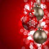 De achtergrond van Kerstmis met snuisterijen Royalty-vrije Stock Foto's