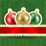 De achtergrond van Kerstmis met snuisterijen Stock Fotografie