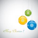 De achtergrond van Kerstmis met snuisterijen Stock Foto