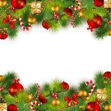 De achtergrond van Kerstmis met snuisterijen en Kerstmis RT Royalty-vrije Stock Afbeelding